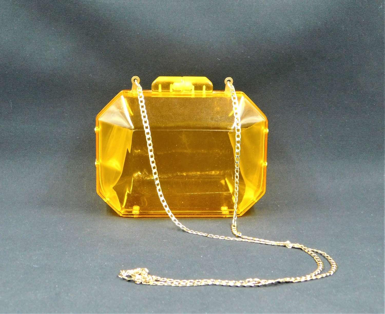 1970's Transparent Orange Lucite Bag