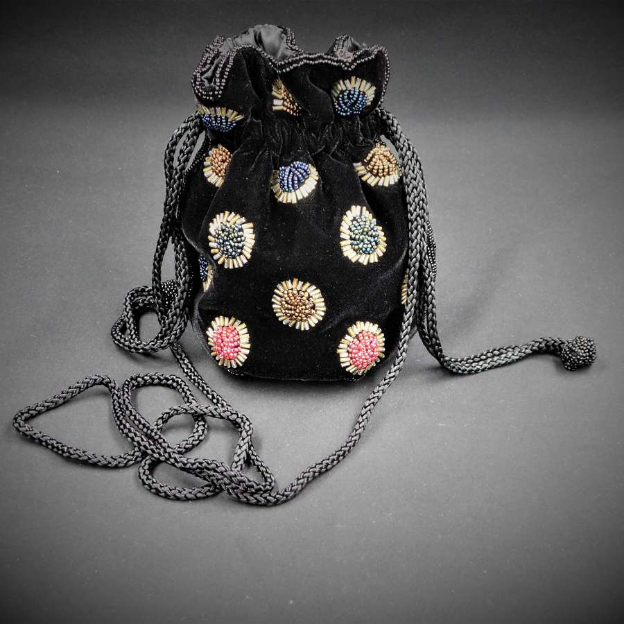 Velvet Beaded Bag by Ackery