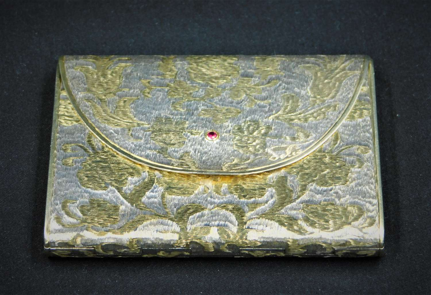 1940's Gucci Italy Silver Gilt with Ruby Powder Compact