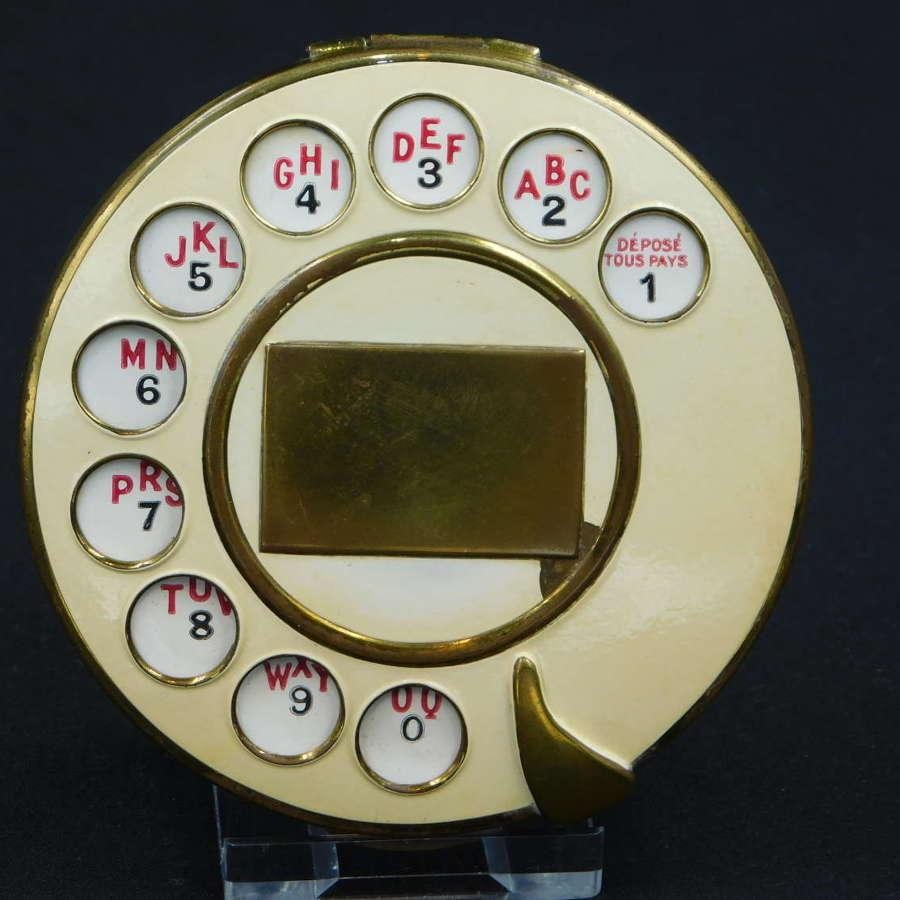 Rare 1935 Salvador Dali for Schiaparelli Telephone Dial Compact
