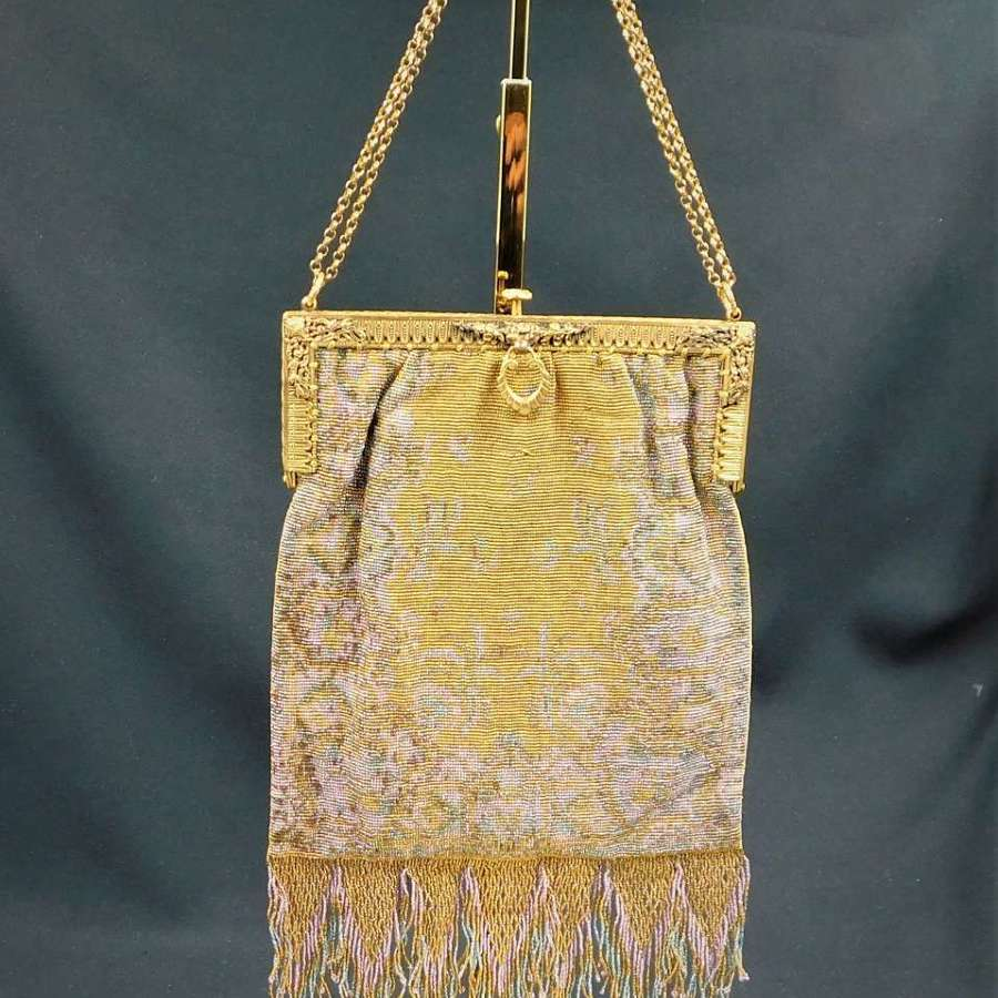 Art Deco French Steel Cut Micro Beaded Bag
